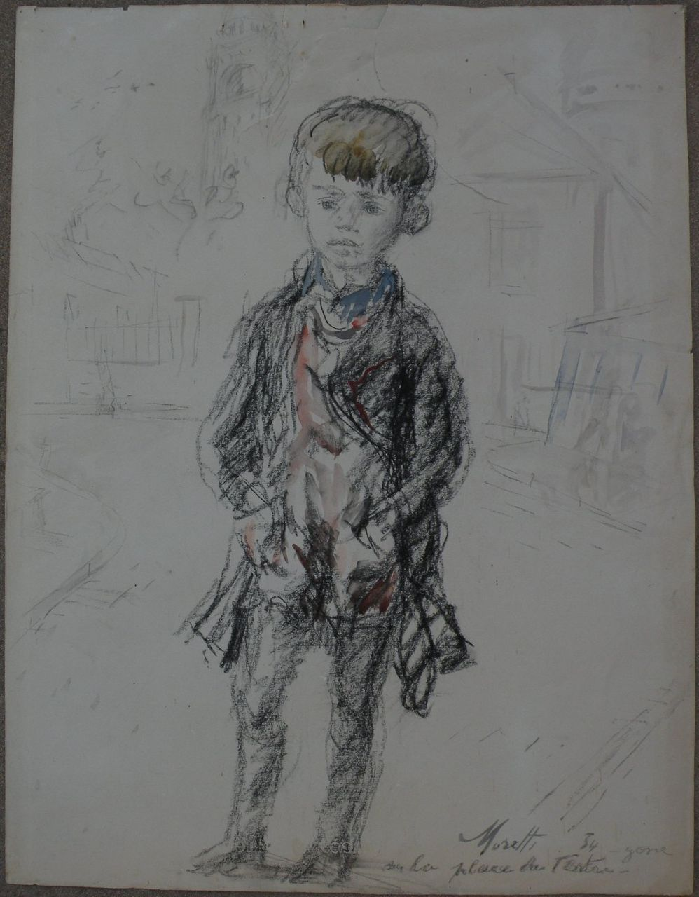 LUCIEN PHILIPPE MORETTI (1922-2000) French contemporary art charcoal and watercolor drawing of a child 1954