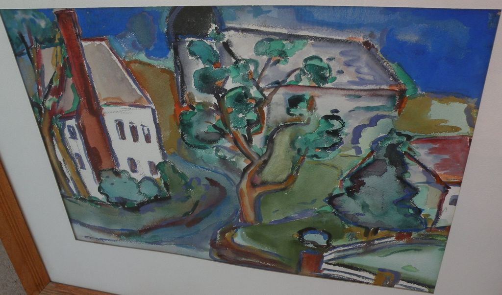 Fine watercolor landscape painting of houses and trees