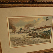 THOMAS ELLISON (1866-1942) English art fine watercolor painting of rural cottages in snowy landscape