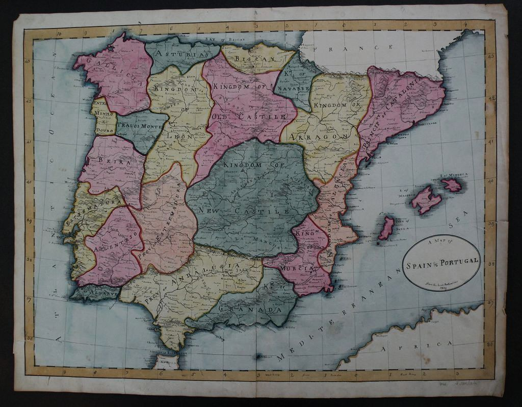 HAND DRAWN 1809 school boy map of Spain and Portugal with great details