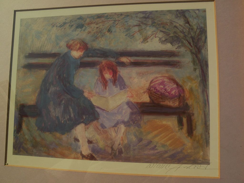 BARBARA A. WOOD (20th century California) pencil signed print of mother and child on a park bench
