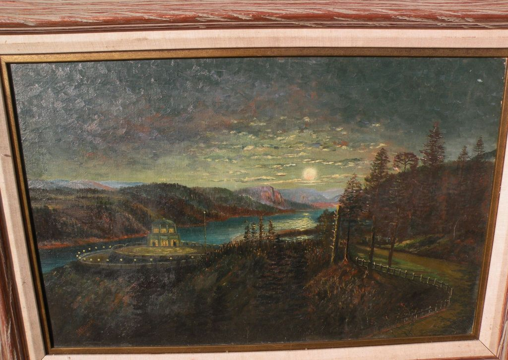 Northwest American art Oregon 1920 signed painting of Vista House at Crown Point on the Columbia River Highway