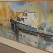 California  art artist signed watercolor impressionist painting of boat at dock
