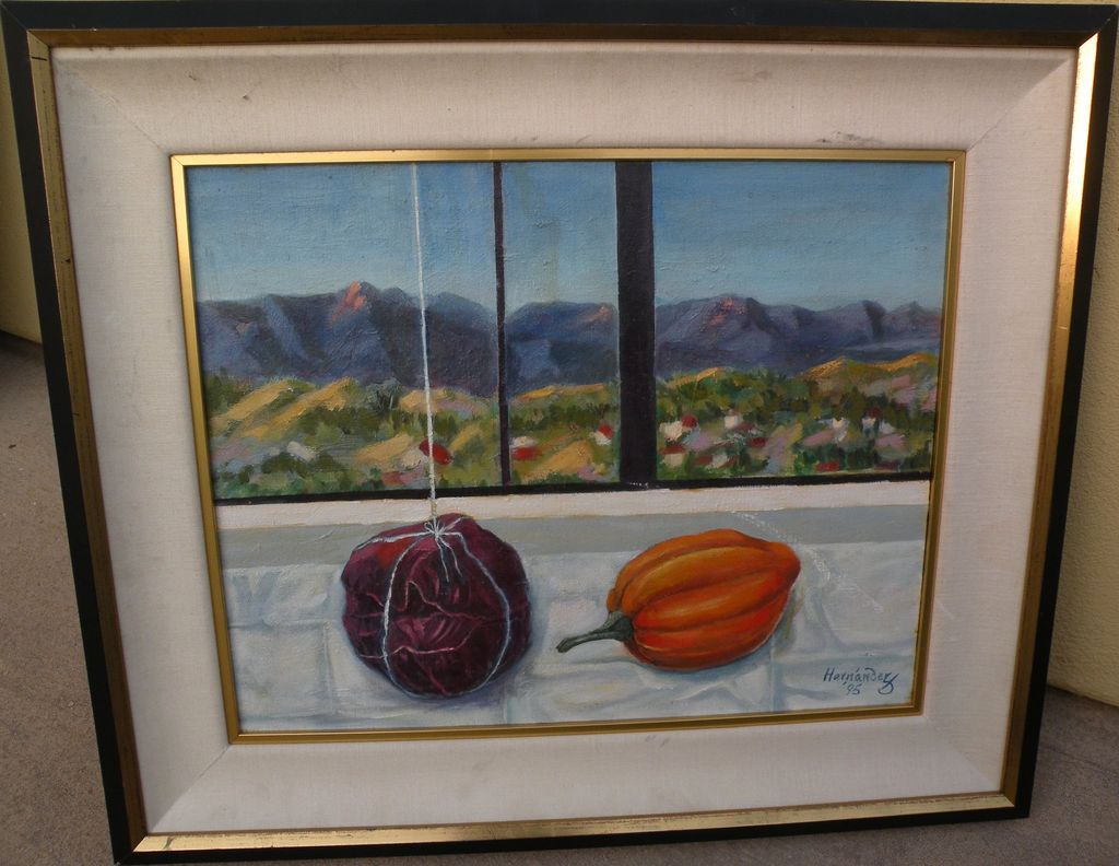 Signed painting contemporary still life in a landscape