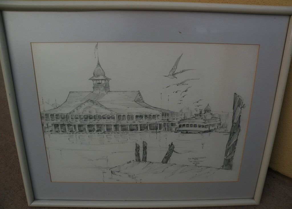 California art original 1974 signed pencil drawing of the Pavilion and ferry in Newport Beach California
