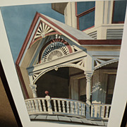 JAY RATHER 20th century American art fine detail realism architectural watercolor painting