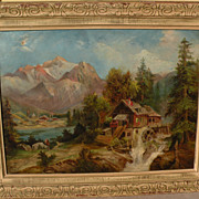 Signed dated 1914 painting of a mill in a mountainous landscape