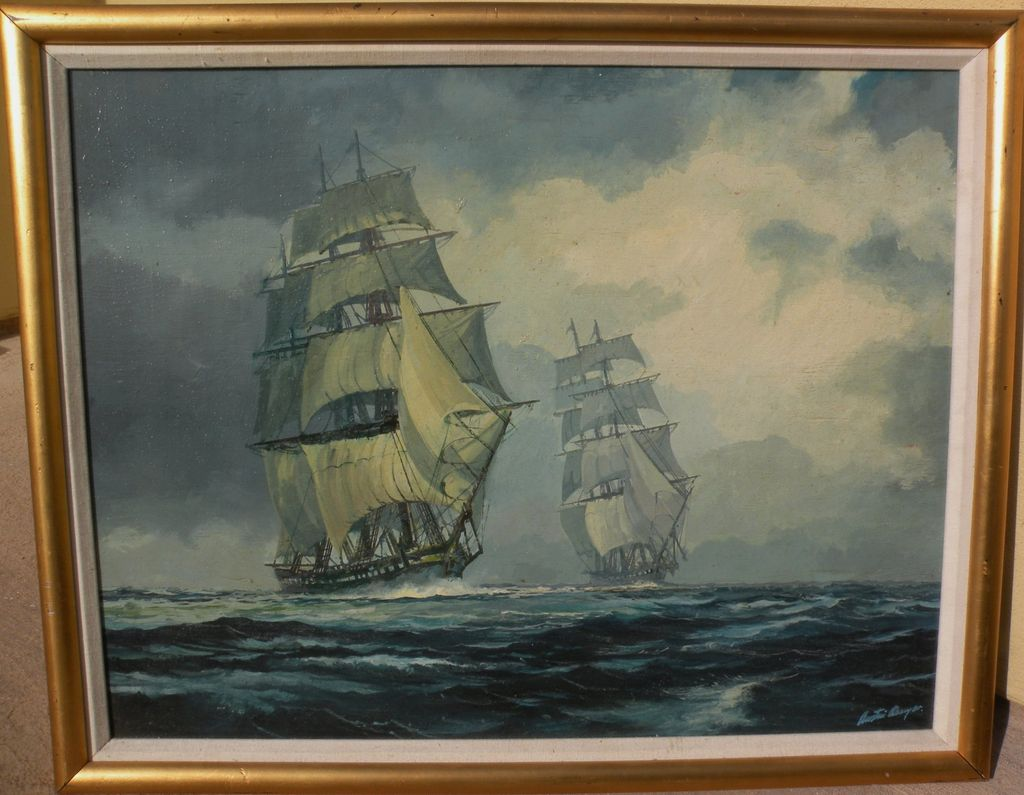 AUSTIN DWYER American marine art contemporary painting of clipper ships by noted contemporary marine artist and illustrator