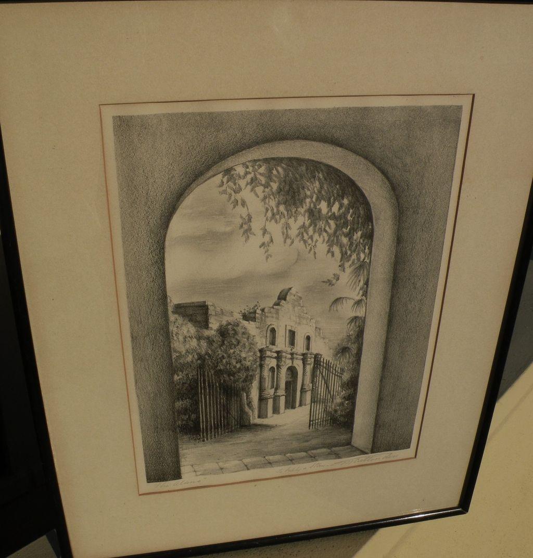 "Vintage Texas art original pencil signed lithograph ""The Alamo"" by artist M. CRITTENDEN"