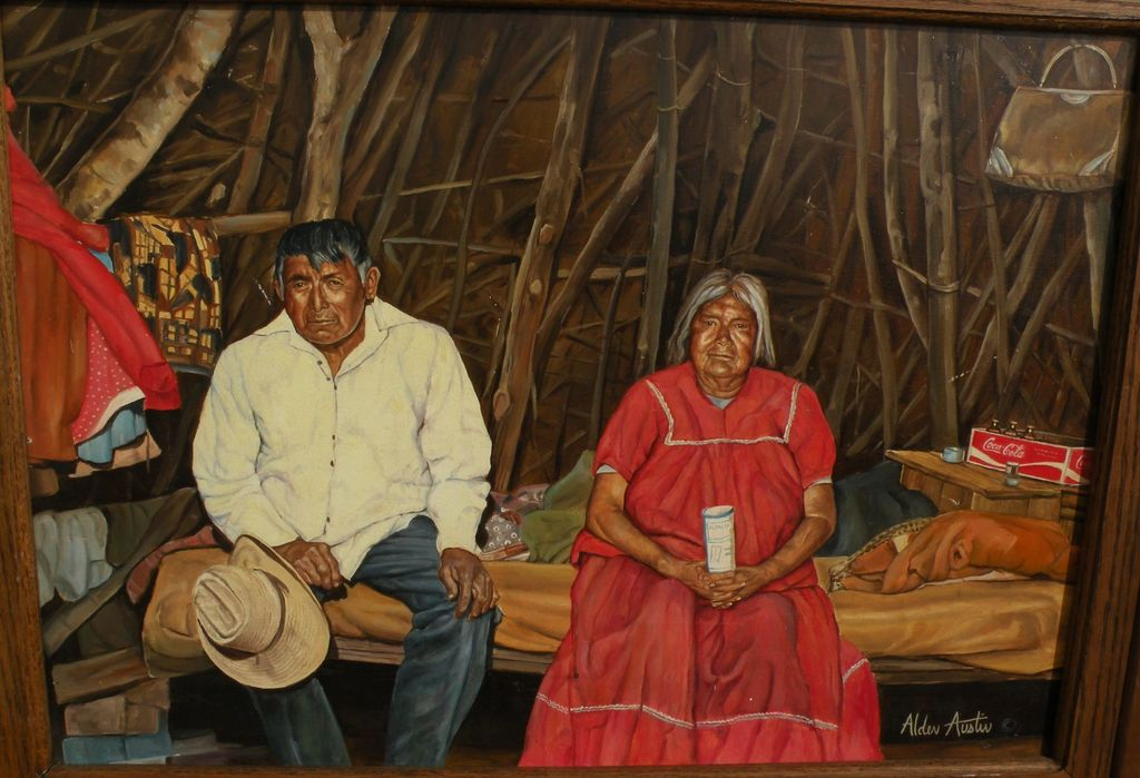 Southwestern American realist art fine painting of Navajo or Mexican couple in rustic interior signed ALDER AUSTIN