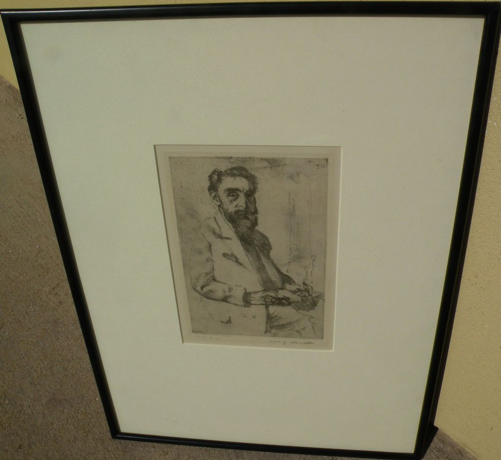 """LOVIS CORINTH (1858-1925) pencil signed etching """"Portrait of Hermann Struck"""" by highly important German artist"""