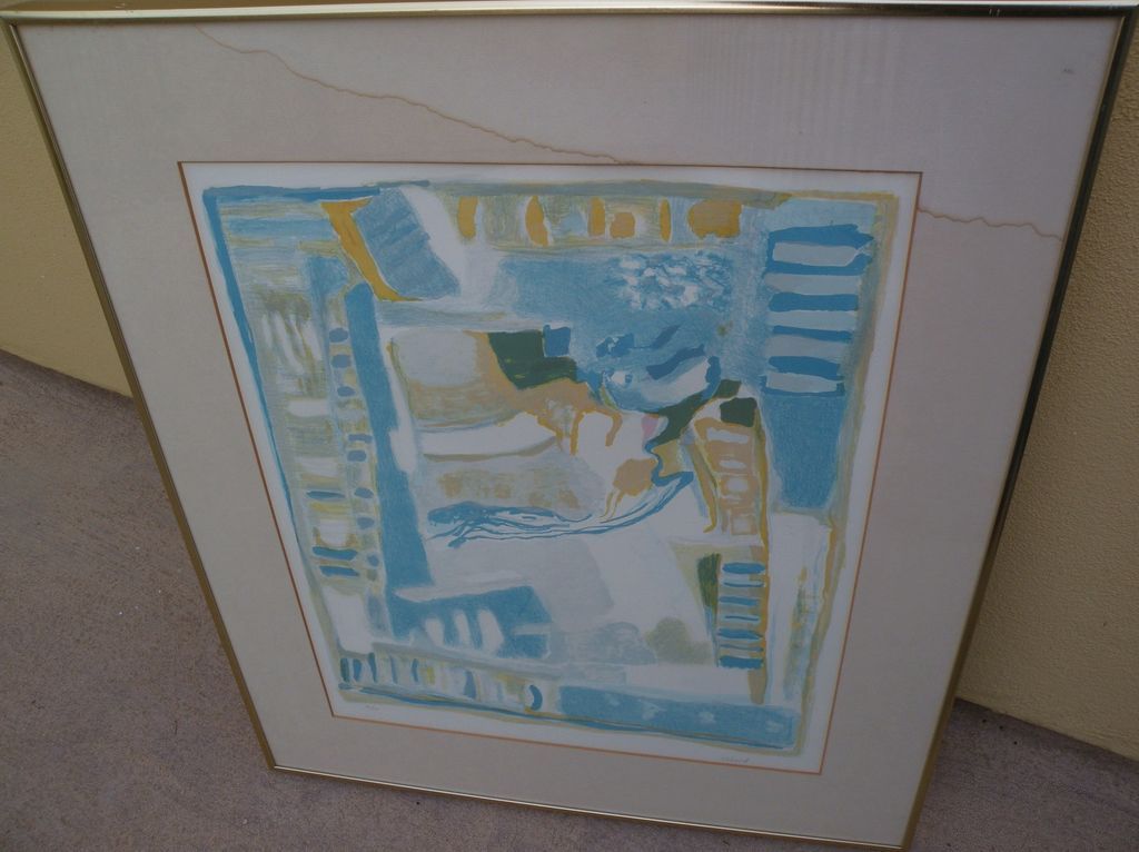 """CHAFIC ABBOUD (1926-2004) Modern Lebanese art pencil signed 1976 abstract  lithograph """"La Fenetre"""""""