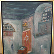 MAX BAND (1900-1974) Judaica painting of synagogue interior by School of Paris well listed art