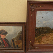WILLIAM WALKER MORRIS (fl. 1850-1867) English art **PAIR** of paintings preserved from an originally larger composition