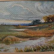 DELLA VERNON (1876-1962) California art vintage watercolor landscape painting