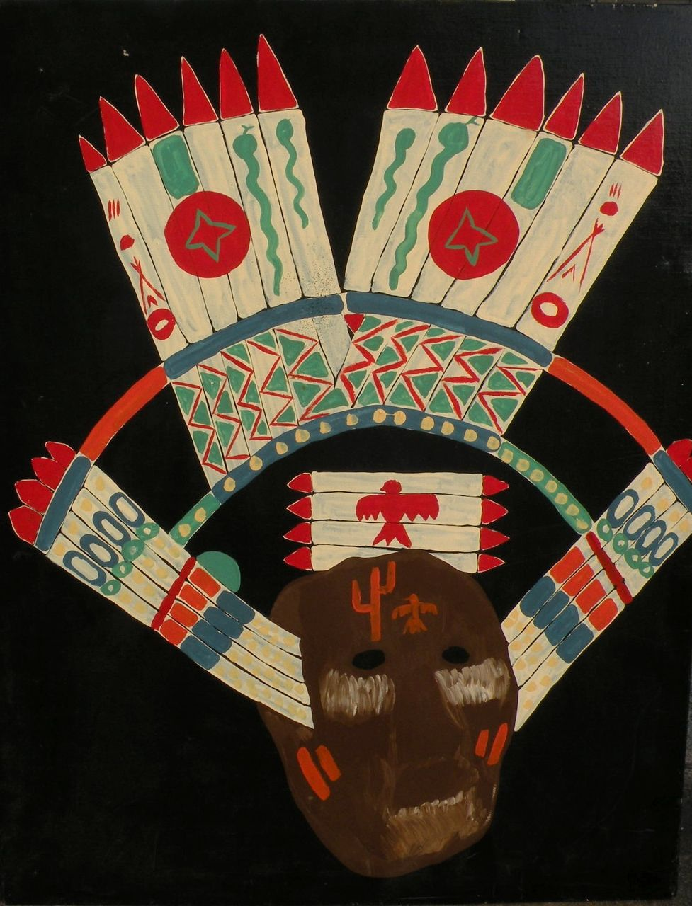 Southwestern Native American ethnographic art original painting of ceremonial headgear