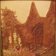 Fine circa 1900 English watercolor of a garden in Sussex, style of Stannard family of watercolorists