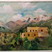 EDNA LEONHARDT ACKER (1904-) original watercolor of Santa Fe, New Mexico dated 1944 by noted P