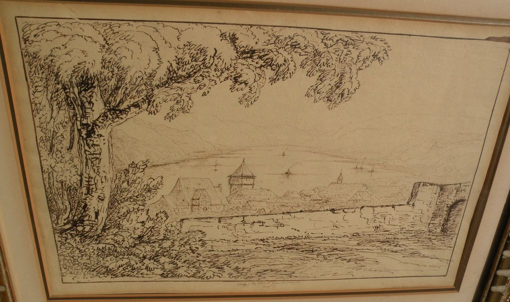 Topographical art early 19th century sepia ink drawing of Rhine River near Bacharach Germany