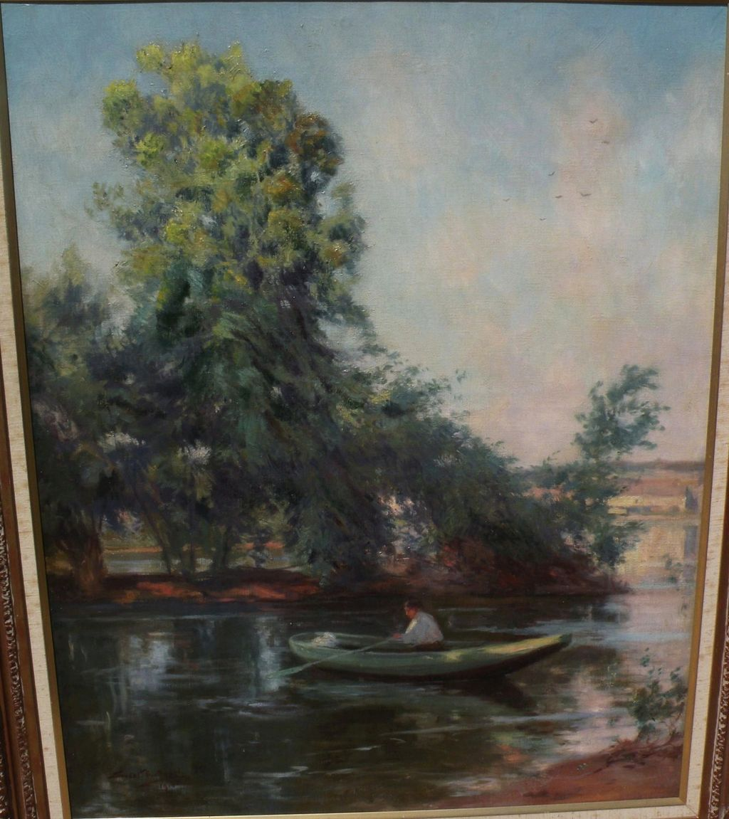 ERNEST G. BEACH (1865-c. 1934) large impressionist painting of woman in a rowboat in sun dappled landscape