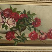 American still life painting of roses circa 1900
