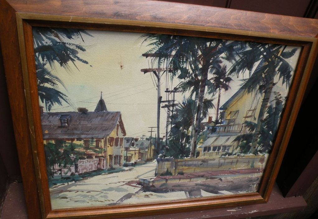 Florida art double-sided signed vintage Key West watercolor street scene painting