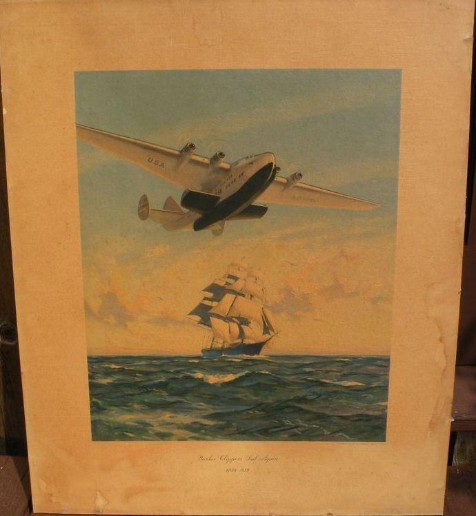 "Aviation memorabilia vintage PAN AM 1939 travel poster ""Yankee Clippers Sail Again"""