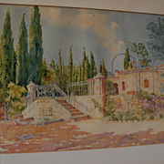 Circa 1920 signed French impressionist watercolor of sun-drenched Mediterranean estate