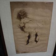 "JACQUES VILLON (1875-1963) pencil signed limited edition drypoint print of 1905 ""La Petite Boudeuse"""