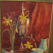 MORSTON CONSTANTINE REAM (1840-1898) original watercolor still life painting dated 1870