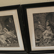 German signed 19th century PAIR of fine watercolor genre paintings