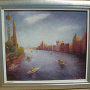 Chinese signed contemporary impressionist painting of Shanghai with pointillist technique