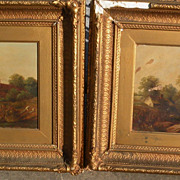 **Pair** Signed 19th century English landscape paintings with cottages