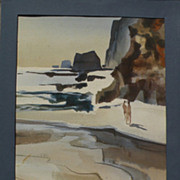 """MILFORD ZORNES (1908-2008) California art watercolor painting """"Cliffs and Sea"""""""