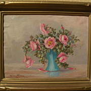 NEVADA WILSON (1877-1961) small impressionist still life painting by noted California artist