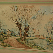 PAUL EMILE LECOMTE (1877-1950) large color etching of French riverside landscape