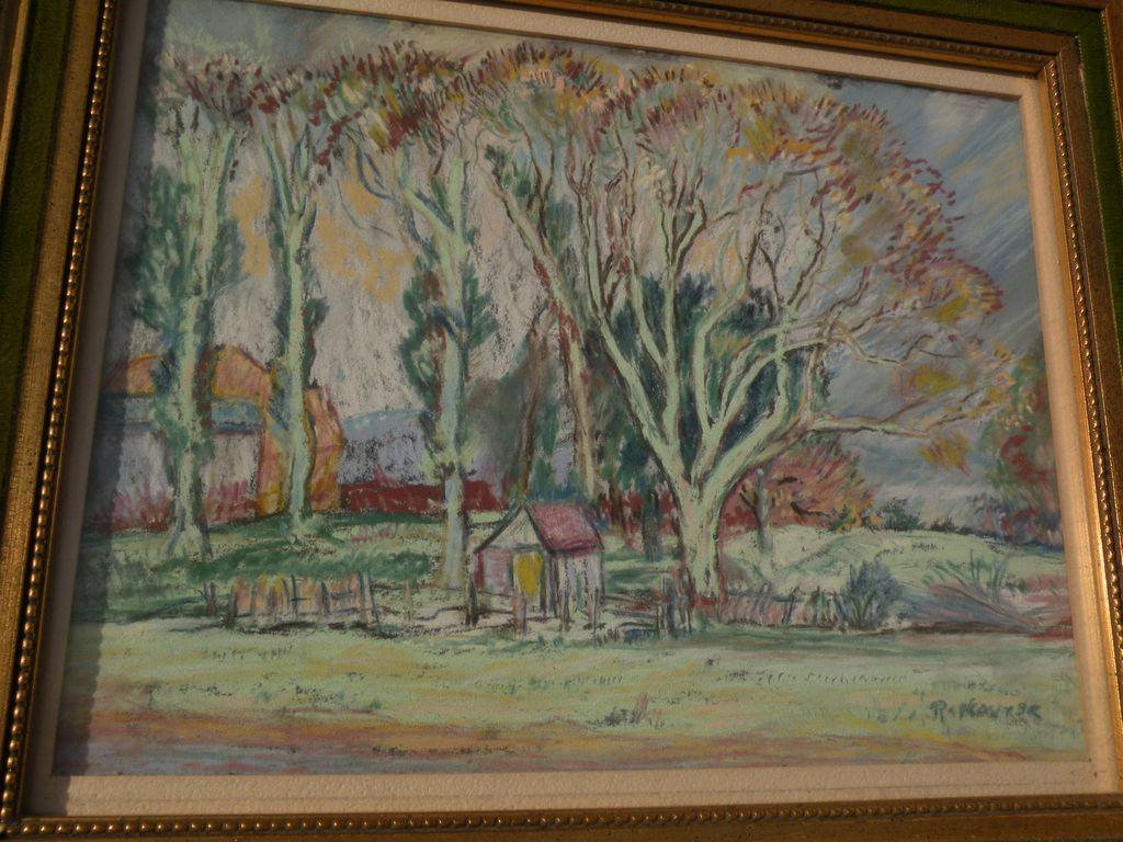 American impressionist art pastel landscape drawing signed R. NOURSE