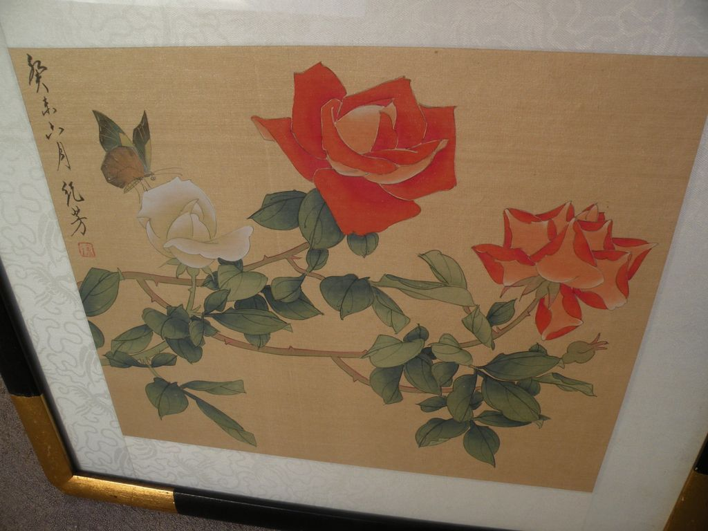 Mid 20th century Asian art painting of roses and butterfly