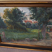 Impressionist circa 1930's watercolor landscape painting signed Flora Marrcesy‏