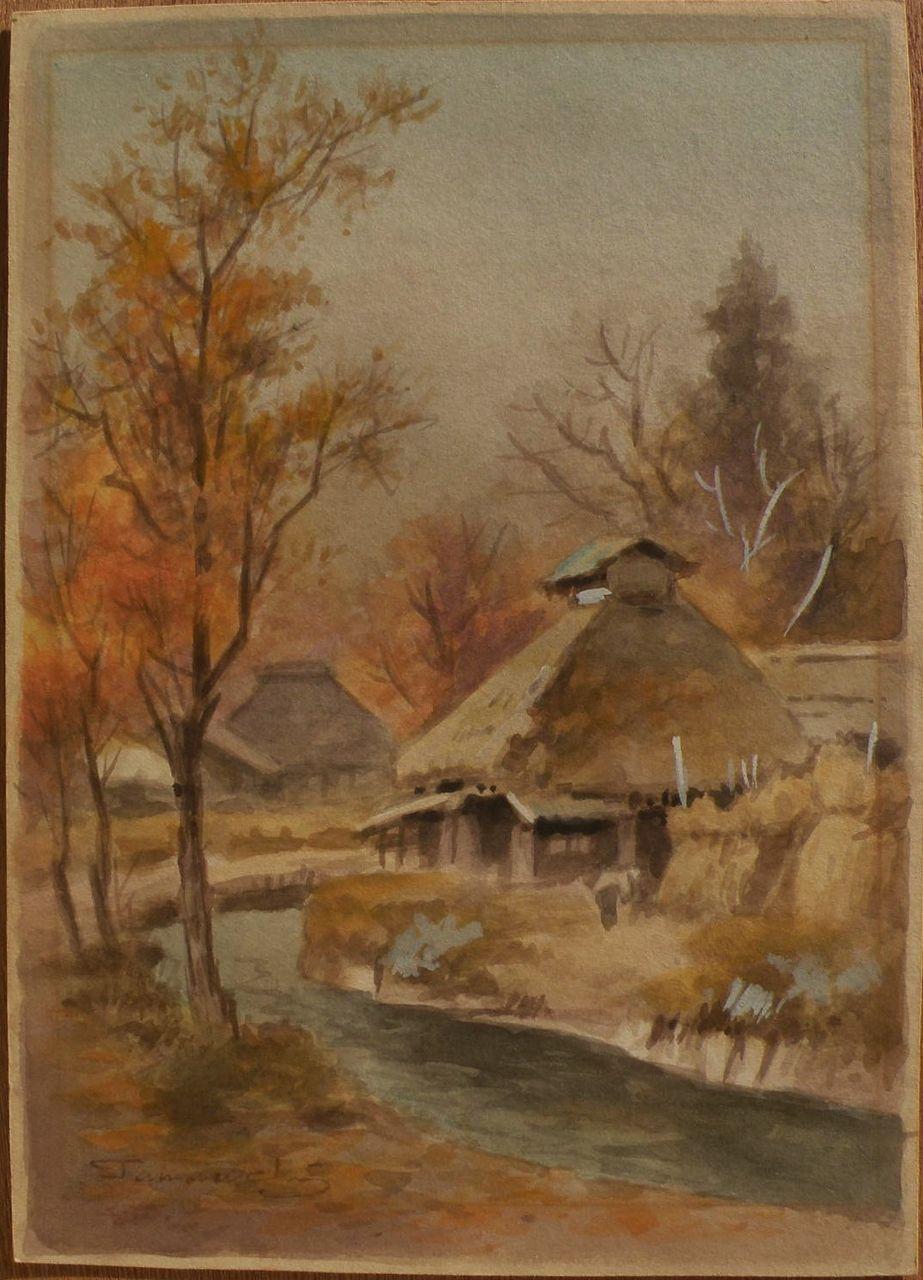 FUKUTARO TERAUCHI (1891-) Japanese watercolor landscape painting