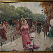 JUAN SOLER (1951-) fine contemporary impressionist painting of 19th century Belle Epoque French park scene with figures in style of Jean Beraud