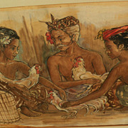 Indonesian art circa 1960 mixed media drawing of figures at a marketplace