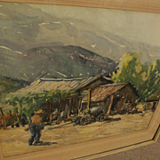 """WILLIAM T. McDERMITT (1884-1961) watercolor landscape """"Mexico 1940"""" by well listed California artist"""