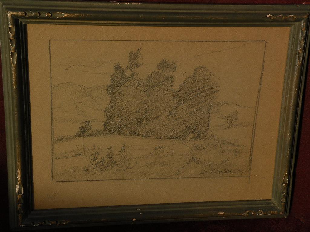 DAVIS SCHWARTZ (1879-1969) California plein air art landscape pencil drawing