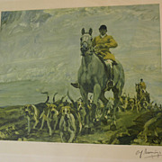 A. J. MUNNINGS (1878-1959) highly important British equestrian sporting art PENCIL SIGNED print