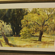 """ROSCOE CARVER (1896-1982) watercolor landscape painting """"New Oaks"""" by listed California artist"""