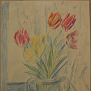 Impressionist yet modern signed crayon still life drawing tulips in a vase dated 1983