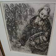 "MARC CHAGALL (1887-1985) original etching print ""Joshua Reads the Word of the Law"" from the Bible Series"