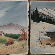 KEN DECKER (1926-1994) **PAIR** California Scene watercolor double sided landscape paintings