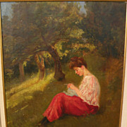 A. MORENO DE TORRES (Argentinian, 19th/20th century) oil painting of young woman on a grassy s